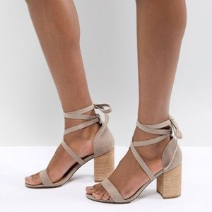 ASOS DESIGN Travis Tie Leg Heeled Sandals